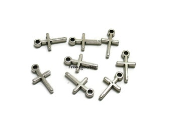 50 simple, tiny cross charms, antiqued silver tone, 12mm  - P49