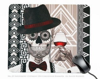 """1920's Art Deco Sugar Skull Mousepad - Day of the Dead Mouse Pad - """"Mr J.D. Vanderbone"""" (copyrighted)"""