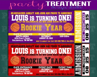Rookie Year First Birthday Basketball Ticket Invitation CHOOSE YOUR COLORS 087