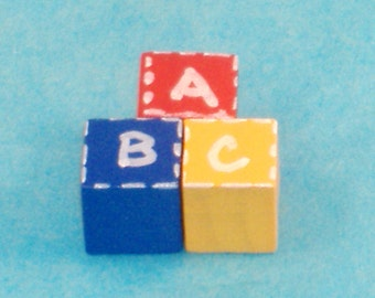Handpainted Miniature ABC Block Set, Primary Colors - Red, Yellow, Blue  - Great Accessory for Your Dollhouse, Scrapbooking, Card Making