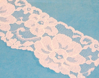 Flat White Lace Trim - 2 and Half Inches Wide - Polyester Lace  - BTY - Destash N