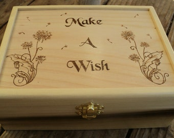 Wooden Woodburned Dandelion Make a Wish Keepsake Box, Wood Keepsake Wish Box