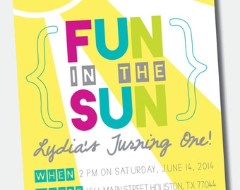 Fun in the Sun Birthday Party Invitation /// Pool Party /// Swim Party
