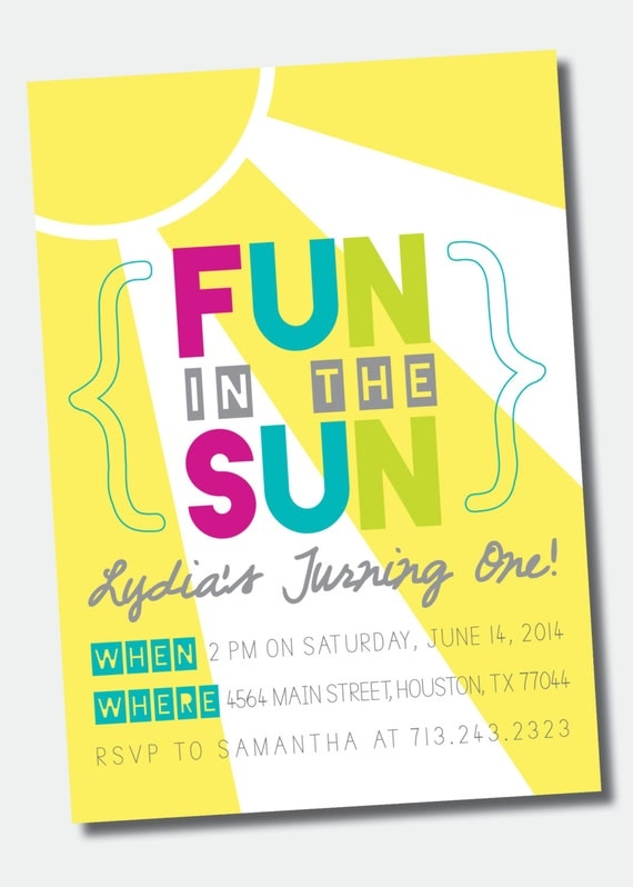 Fun in the Sun Birthday Party Invitation Pool Party – Swim Party Invitations