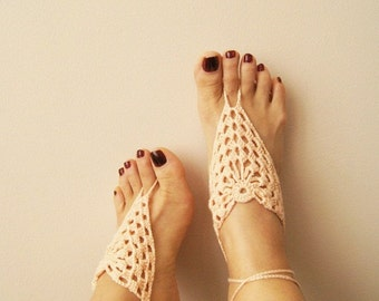 Blush wedding Barefoot Sandals, Nude shoes, Foot jewelry, Wedding, Victorian Lace, Sexy, Lolita, sandales aux pieds nus