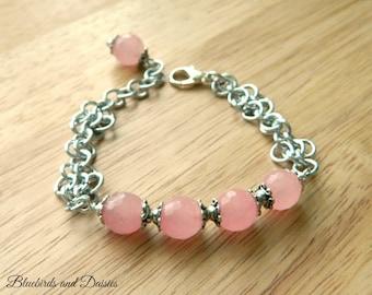 Rose Quartz and Chainmaille Bracelet - Rose Quartz Jewelry - Anniversary Gift  - Friendship Gift - Girlfriend Gift
