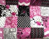Paris Throw Quilt Teen Quilt in Hot Pink and Black Paris Motif Patchwork Quilt