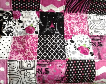 Paris Baby Quilt, Diva Girl Baby Blanket, Pink and Black Crib Quilt, Paris Nursery Quilt, Pink and Black Nursery Bedding