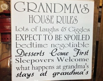 Grandmas House Rules / Nana Decor / Grandma Gift / Nana Gift / Gift For Grandma / Grandmother Gift /  Grandparent Gifts / Nana Sign