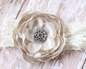 Neutral Satin Flower and Lace Headband and Photo Prop