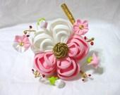 Tsumami kanzashi hair flower - maiko white and pink plum blossom