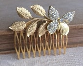 Butterfly comb, gold Butterfly comb,Woodland Garden spring wedding hair accessories bridal comb Grecian branch leaf gold rustic hair clips
