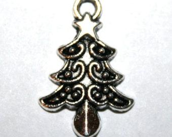 6 Tibetan Silver Christmas Tree Charms/Pendants