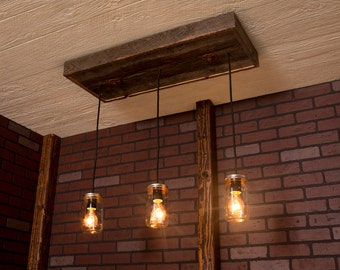 Pendant Light/ Rustic wood chandelier, Mason Jar Chandelier With Reclaimed Wood and 3 Pendants. R-1434-CMJ-3