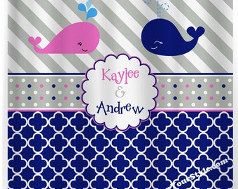 Sibling Whale Personalized Shower Curtain - Jack and Jill Shower curtain - Navy and Gray Curtain - Navy, Pink and Gray Monogrammed Curtain
