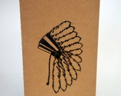 hand stamped head dress unlined blank journal