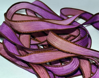 "Dusty Rose 42 ""hand dyed  silk ribbon// Silk Wrist Wrap  Bracelet Ribbons// Silk Wrap Ribbons// Silk Ribbons//By Color Kissed Singles"
