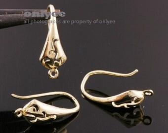 5pairs/10pcs-17mmX9mm Gold plated Brass Filigree Tear drop Earrings(K100G)