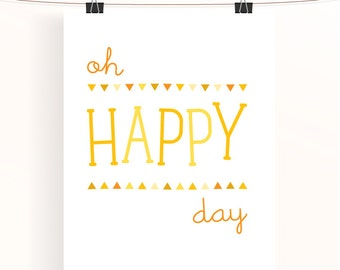 oh happy day - yellow nursery print - bunting triangle poster - children's wall art - nursery decor - baby nursery art - sunshine collection