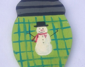 Primitive Wooden snowman ornament, Christmas bulb,shape, wooden gift tag