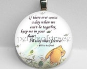25mm Winnie the Pooh quote Keep Me In Your Heart GLASS tile necklace pendant