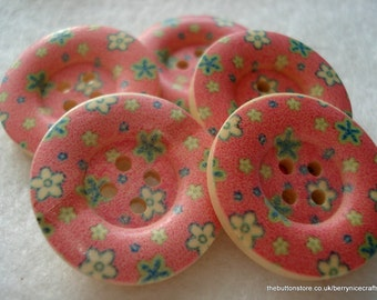 25mm Wood Buttons Pink Blue Flower Print Pack of 10 Pink Buttons W2505