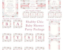It's a Girl Shabby Chic Cottage Vintage Roses Pink and Gray Blue Baby Shower Party Package Set