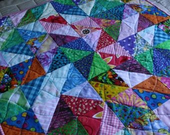 Art Quilt - Value Study in Lights and Darks ; Children's Quilt ; Textile Art ; Textile Wallhanging ; Triangle Quilt ; Scrappy Quilt