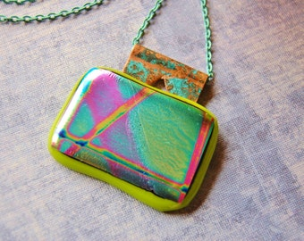 Neon Dichroic Glass Fused Glass Pendant Necklace Turquoise Chain Lobster Claw Lime Green Magenta