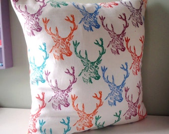 Stag Antlers Pillow cover Upcycled Teatowel