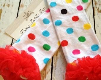 Polka Dot Leg Warmers, Baby Leg Warmers, White Leg warmers with ruffles