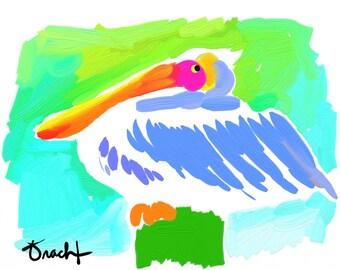 Pelican Art Print 8.5x11 Pelican Painting by Kelly Tracht, Key West Florida Coastal Art, Palm Beach Regency, Item #5D