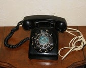 Collectible Circa 1950s Bell System Black Rotary Dial Desk Phone
