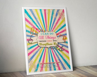 Philippians 4:13 Jeweltones Bible Verse Retro Vintage Typography Poster 16x20 I can do all things through Christ who strengthens me.