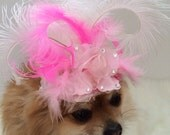 Couture Hat, Feather Flower Fascinator, Pink and White Mini Top Hat