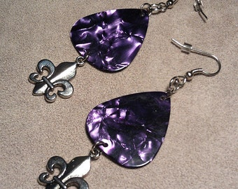 Fleur De Lis Dangle on Purple Pearl Genuine Guitar Pick Earrings