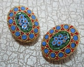 Mosaic Flower Clip On Earrings Made in Italy Oval 1960's Blue Floral Red Green
