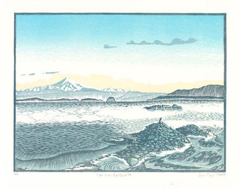 View from Gowlland Pt, limited edition reduction linocut