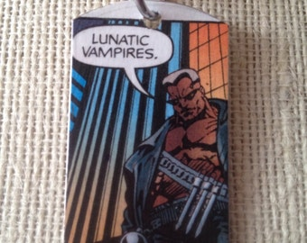 Blade vampire Upcycled Comic Book Tag, Includes Necklace or keychain