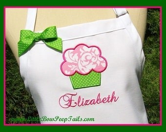 Custom Cupcake and Name Gourmet Apron - Preppy Colors Damask Fabric Applique Personalized Lime Green Hot Pink
