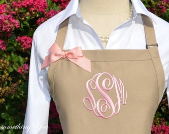 Personalized Apron - Khaki and Seashell - Monogrammed Apron, Neutral Beach Colors, Solid Color Apron, Beach Wedding, Blush Pink stitching
