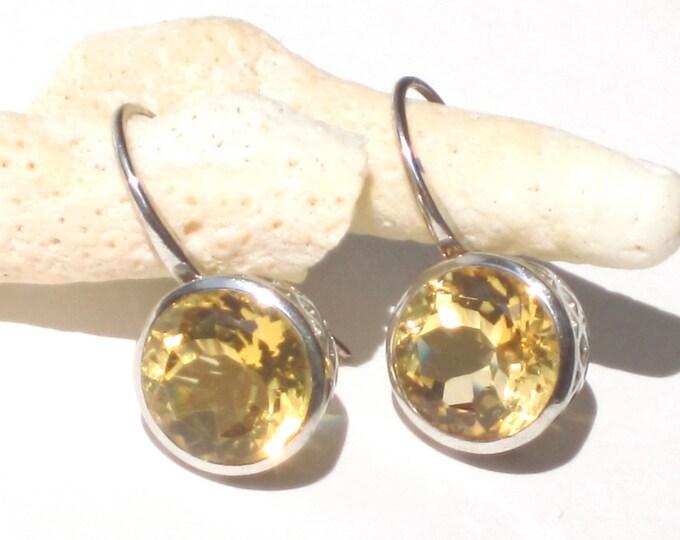 Citrine Earrings--Faceted Citrine Earrings--Sterling Silver Citrine Earrings--Gift Wife Christmas
