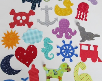 Iron-On Appliques - Set of 25 for DIY tees or baby shower craft