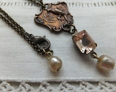 Art Deco Woodland, Romantic, Antiqued Brass Bird Pendant, Vintage Pink Crystal, Delicate Brass Chain, Vintage Glass Pearls, French Charm