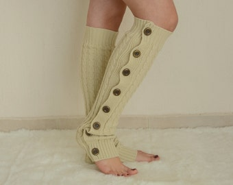 BS5330- Ecru cable knit slouchy button leg warmers-Over the knee socks-Boot socks-Boot toppers-Boot covers-Knee high socks-XS-S-M-L-XL