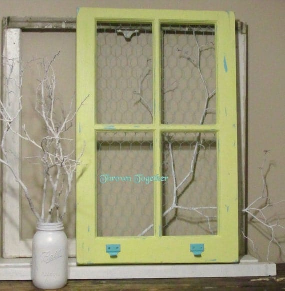 items similar to vintage window frame distressed yellow aqua with aqua chicken wire wedding decor home decor pictures photo on etsy