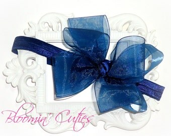 Navy Blue DOUBLE-Stacked Organza Ribbon Newborn Baby Toddler Girls Headband Bow by Bloomin' Cuties