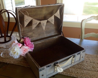 Rustic Wedding Card Box With Burlap Banner, Extra Large Card Box, Personalized.