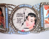 Stupid things - Bracelet with vintage advertisements, bead embroidered