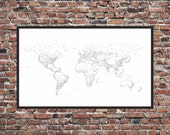World Map Print - Typography / Words / Text - Map of the World, Map Art Print, 40in x 24in approx.